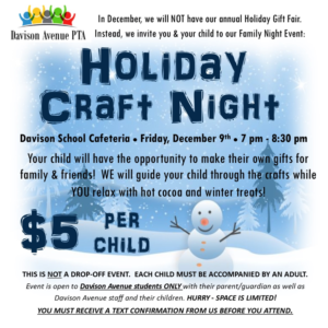 Holiday Craft Night at Davison school
